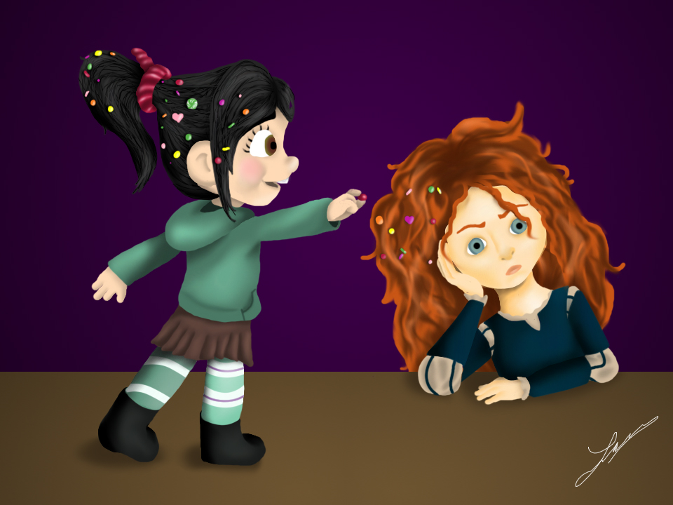 Vanellope and Merida digital painting. 2012.