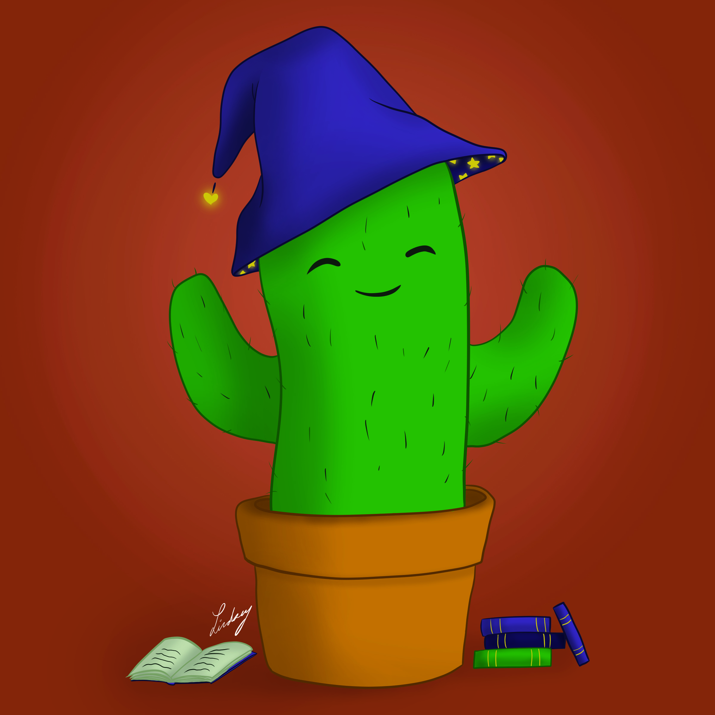 Cactus witch digital painting. 2019