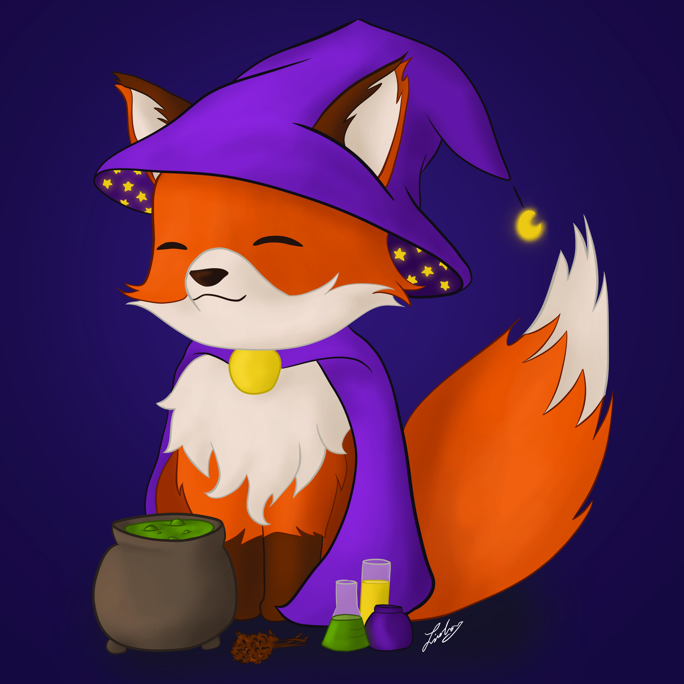 Fox witch digital painting. 2019