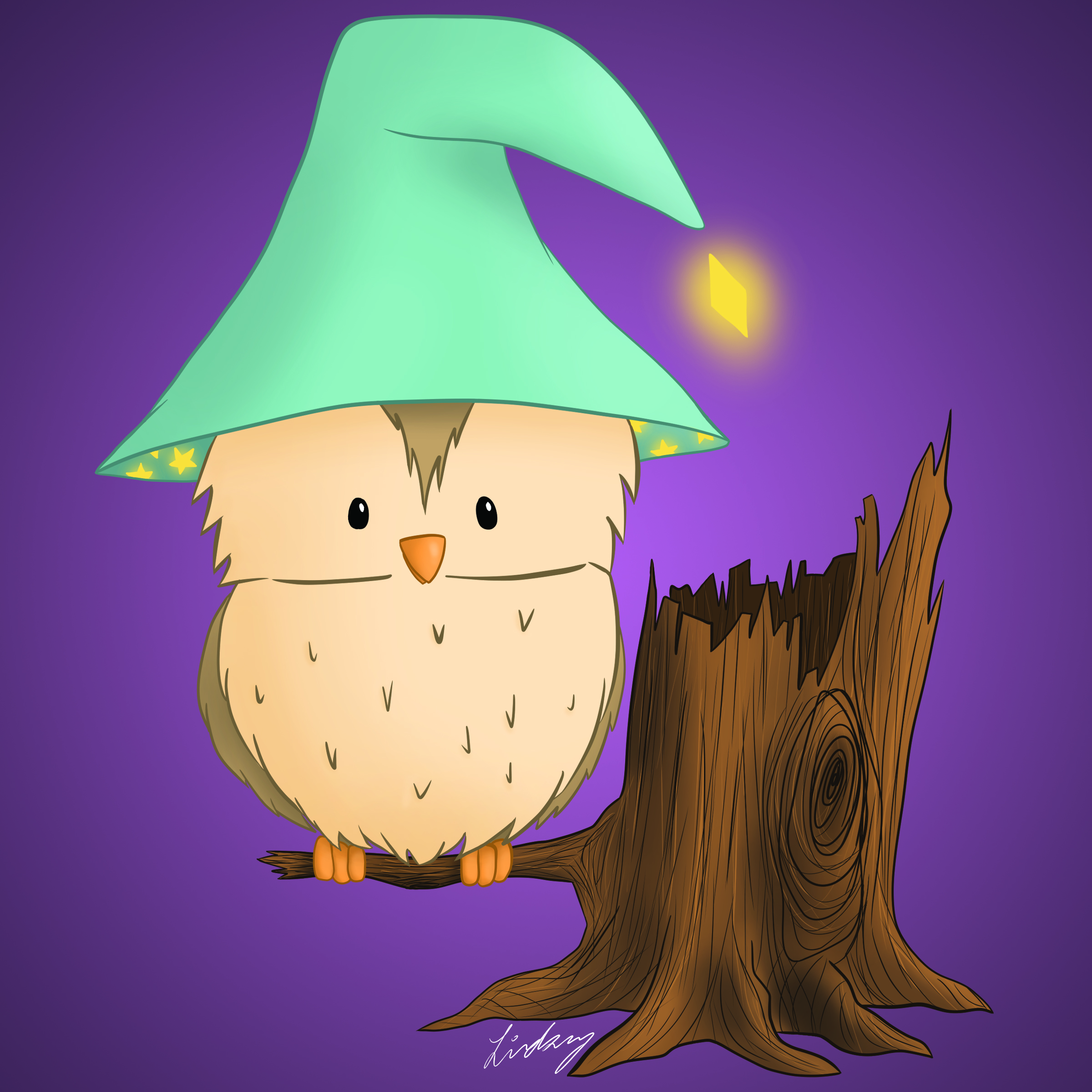 Owl Witch digital painting. 2020