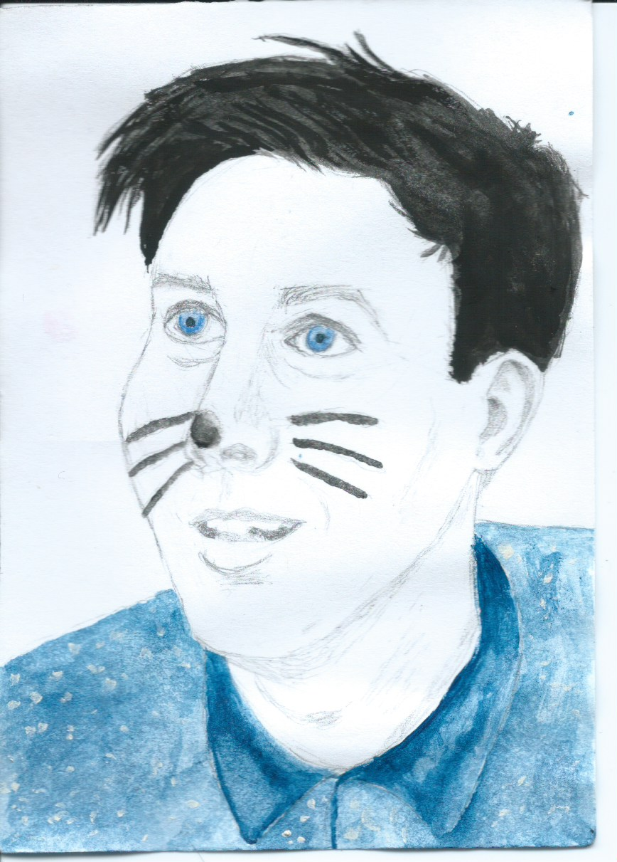 Phil Lester pencil and watercolour piece. 2017.